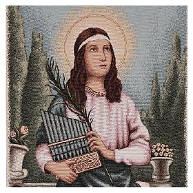 Coprileggio S.Cecilia con strumenti musicali lurex avorio s2