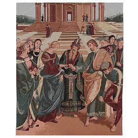 Voile de lutrin lamé Mariage de la Vierge couleur ivoire coton lurex s2