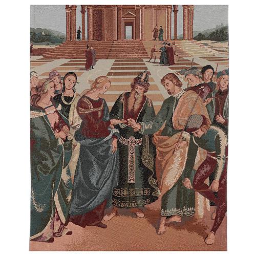 Voile de lutrin lamé Mariage de la Vierge couleur ivoire coton lurex 2