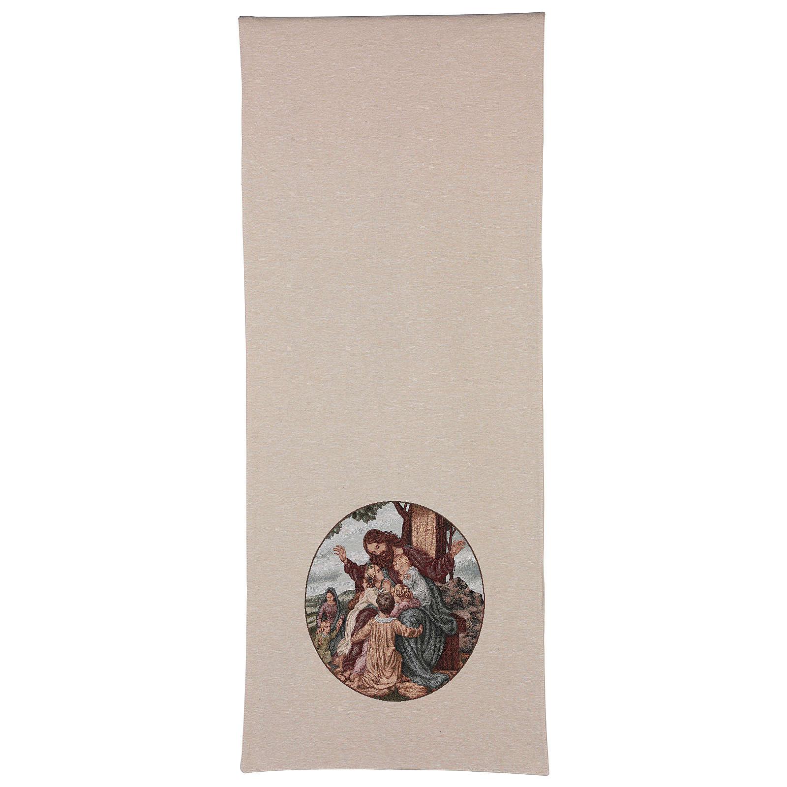 Paño de atril Jesús con los niños algodón lurex marfil 4
