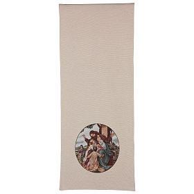 Voile de lutrin Jésus avec enfants coton lurex couleur ivoire s3