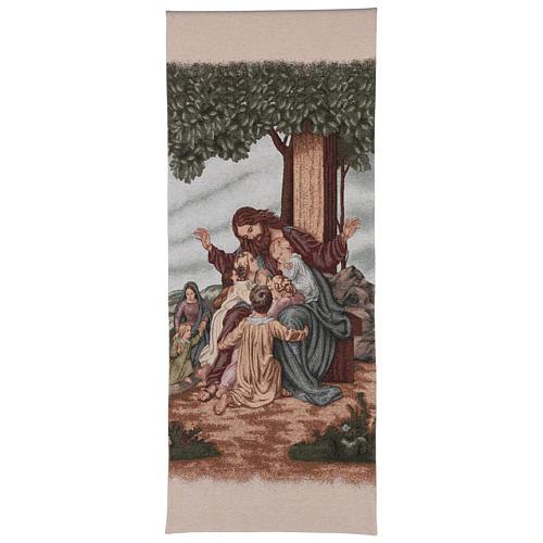 Voile de lutrin Jésus avec enfants coton lurex couleur ivoire 1