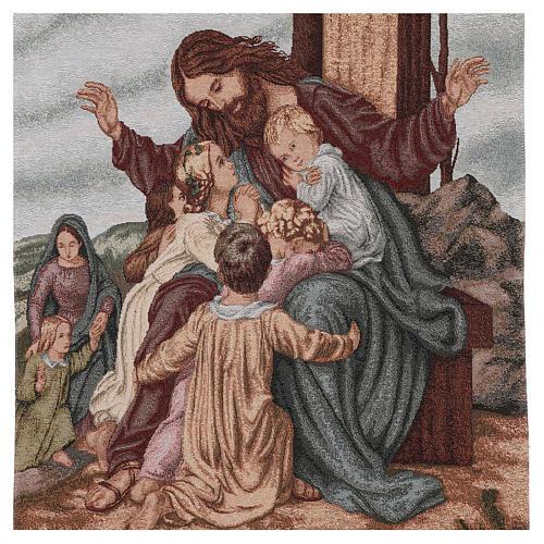 Voile de lutrin Jésus avec enfants coton lurex couleur ivoire 2