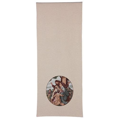 Voile de lutrin Jésus avec enfants coton lurex couleur ivoire 3