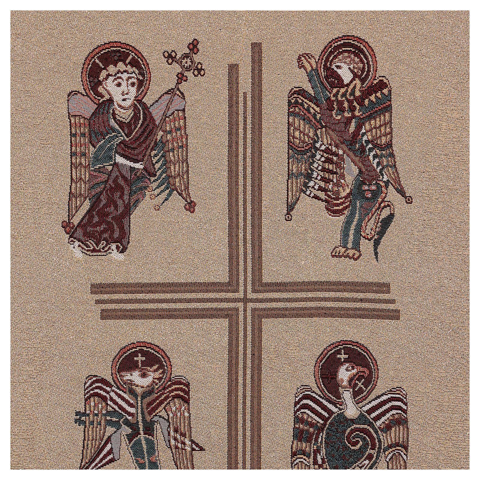 Paño de atril Cuatro Evangelistas de lamé con relieve 4