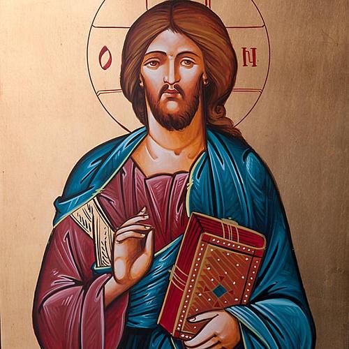 Pupitre colonne bois, Christ Pantocrator 6