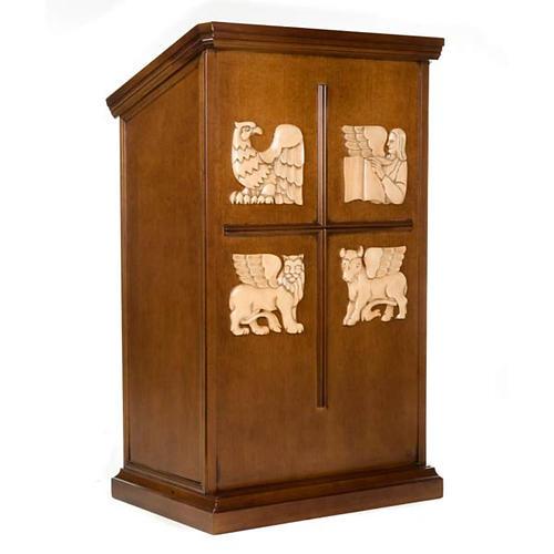 Ambone legno di noce simboli 4 evangelisti 1