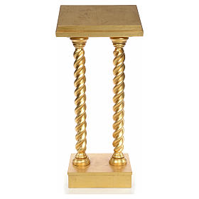 Lectern in beech wood, 2 columns spiraling pattern, gold foil s1