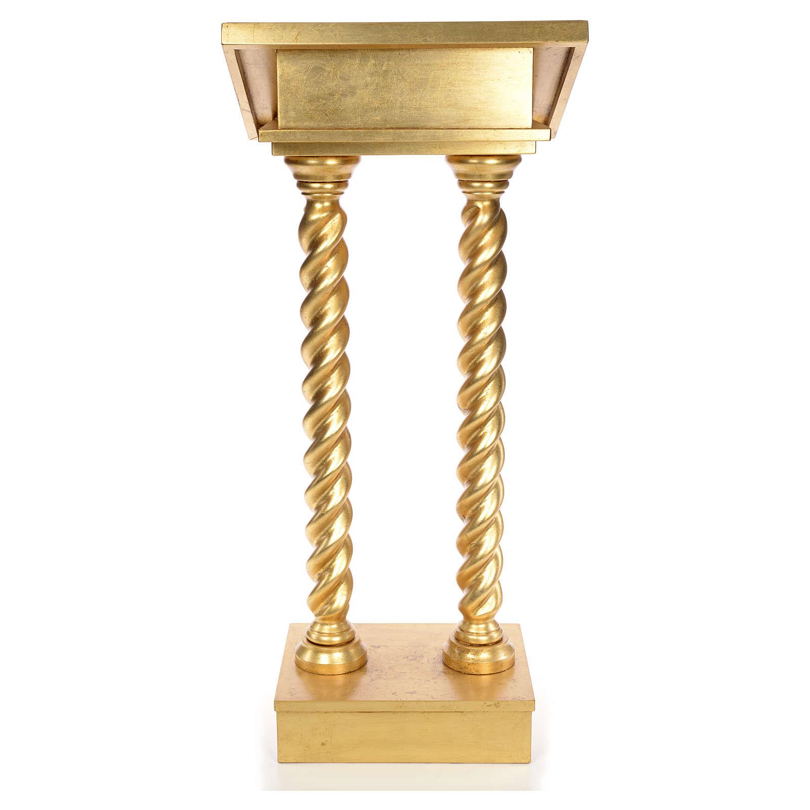 Lectern in beech wood, 2 columns spiraling pattern, gold foil 4