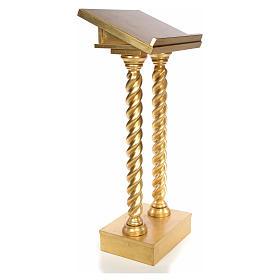 Lectern in beech wood, 2 columns spiraling pattern, gold foil s2