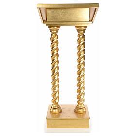 Lectern in beech wood, 2 columns spiraling pattern, gold foil s3