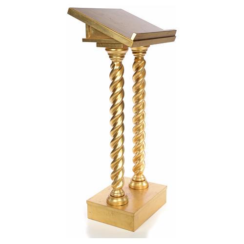 Lectern in beech wood, 2 columns spiraling pattern, gold foil 2