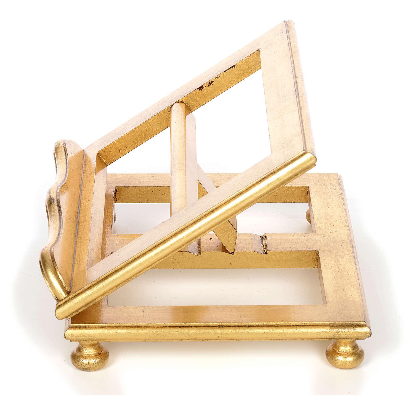 Atril de mesa en haya y  hoja de oro 4