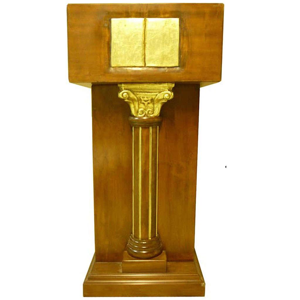 Ambone con capitello a colonna foglia oro 140x60x45 cm 4