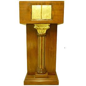 Ambone con capitello a colonna foglia oro 140x60x45 cm s1
