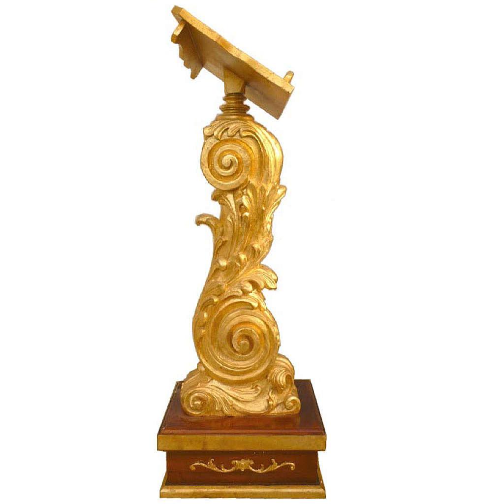 Lutrin à colonne hauteur réglable feuille d'or 135x50x38 cm 4
