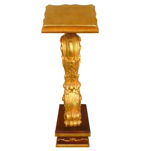 Lectern in wood with adjustable height, gold leaf 135x50x38cm 1