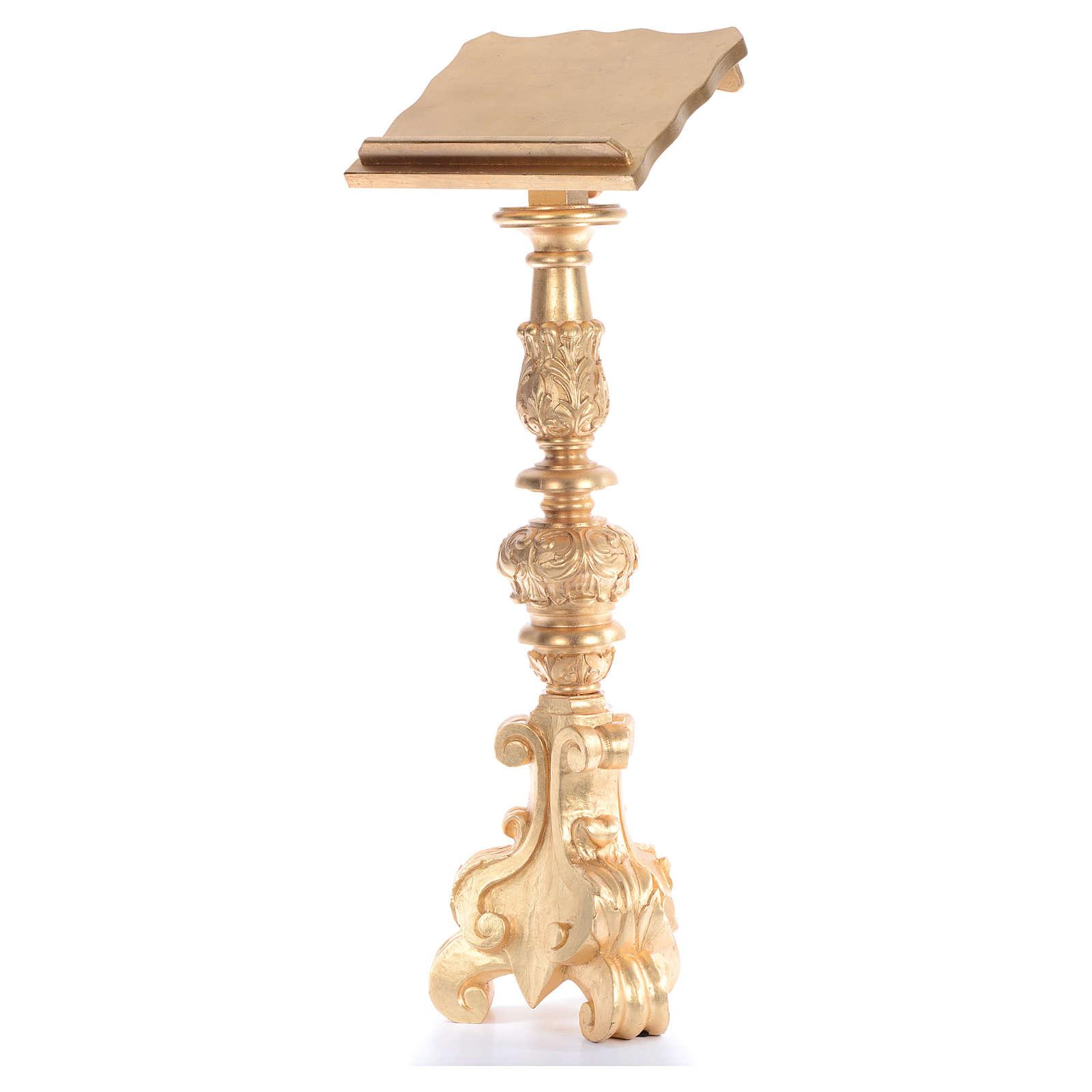 Leggio stile candeliere barocco intagliato foglia oro 120 cm 4
