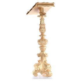 Leggio stile candeliere barocco intagliato foglia oro 120 cm s3