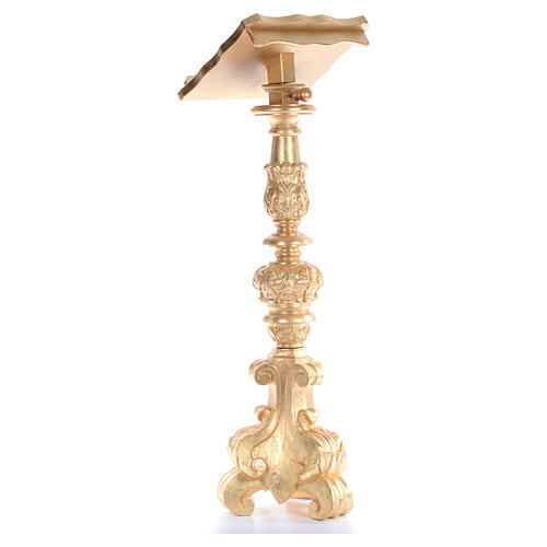 Leggio stile candeliere barocco intagliato foglia oro 120 cm 3