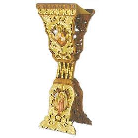 Pulpit zamykany z drewna rzeźbiony ręcznie 120x40x40 cm s1