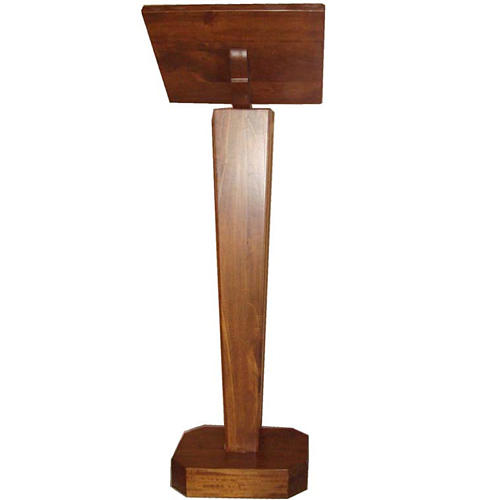 Lectern, column in solid wood, adjustable height 2