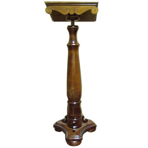 Lutrin à colonne en bois massif tourné et sculpté réglable 1