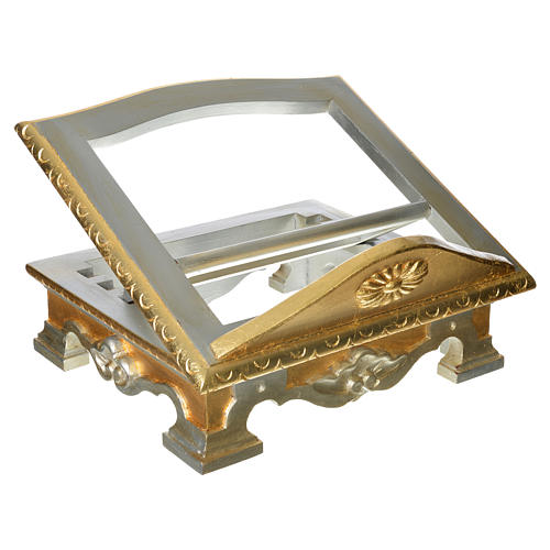 Table lectern in wood, with silver and gold leaf 1
