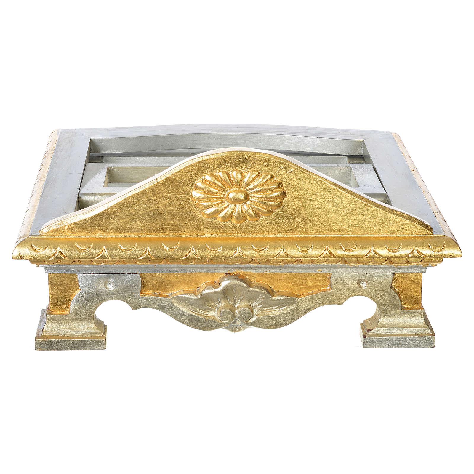 Pupitre de table bois feuille argent or 4