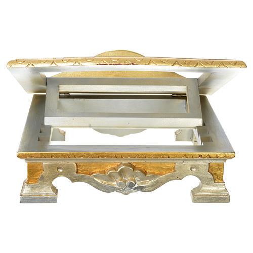 Pupitre de table bois feuille argent or 3