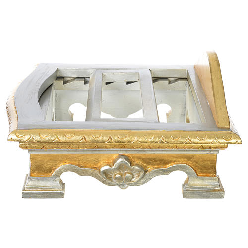 Pupitre de table bois feuille argent or 5