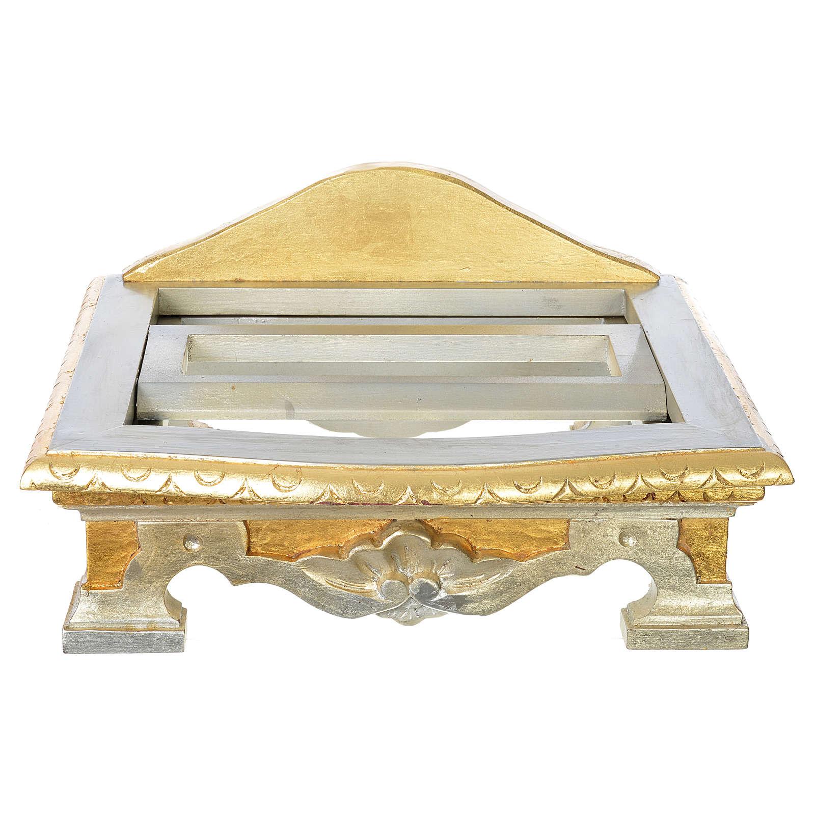 Leggio da tavolo legno foglia argento oro 4