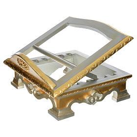 Leggio da tavolo legno foglia argento oro s2
