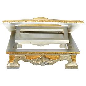 Leggio da tavolo legno foglia argento oro s3