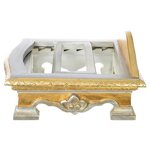 Pulpit na stół drewno płatek srebra złota 5