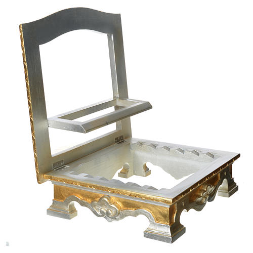 Table lectern in wood, with silver and gold leaf 7