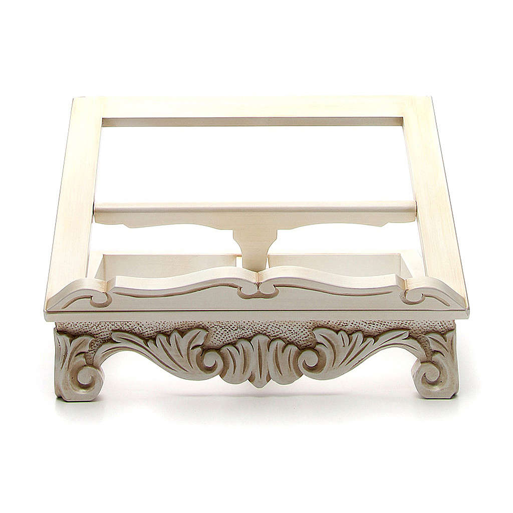 Baroque missal stand in walnut wood, ivory colour 4