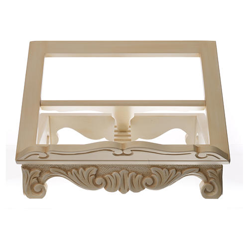 Baroque missal stand in walnut wood, ivory colour 6