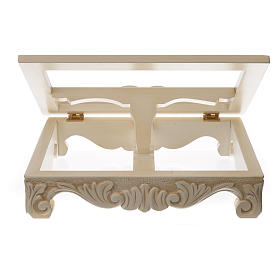 Baroque missal stand in walnut wood, ivory colour s7