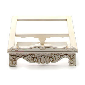 Baroque missal stand in walnut wood, ivory colour s1