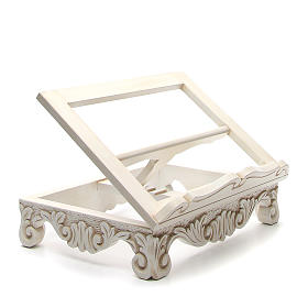 Baroque missal stand in walnut wood, ivory colour s4