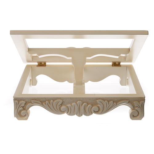 Baroque missal stand in walnut wood, ivory colour 7