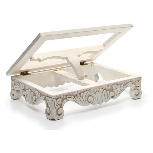 Baroque missal stand in walnut wood, ivory colour 10