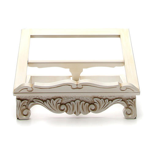 Baroque missal stand in walnut wood, ivory colour 1