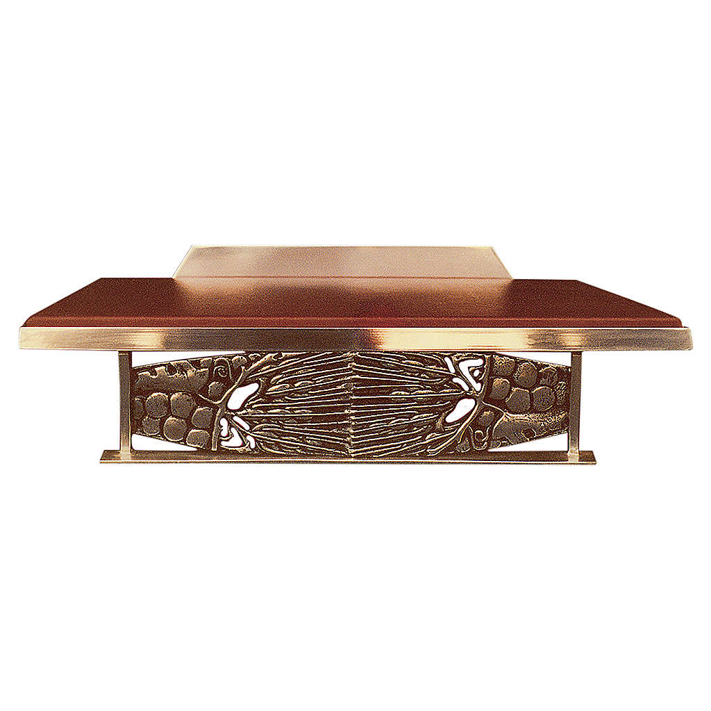 Table lectern with golden grapes decoration and imitation leather 4