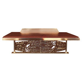 Table lectern with golden grapes decoration and imitation leather s1