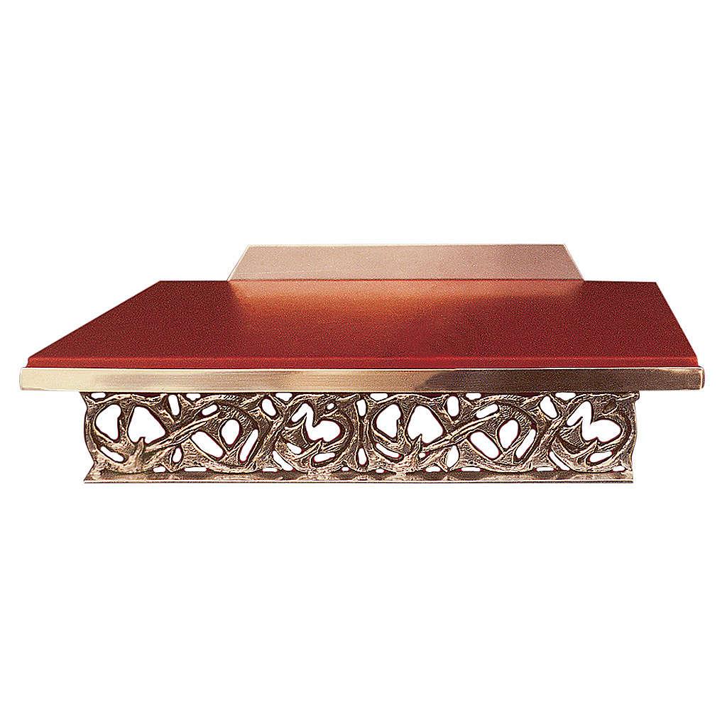 Atril de mesa latón fundido dorado y simil cuero 4