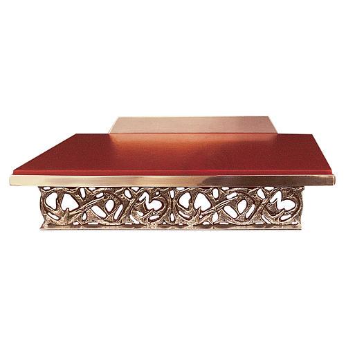 Atril de mesa latón fundido dorado y simil cuero 1