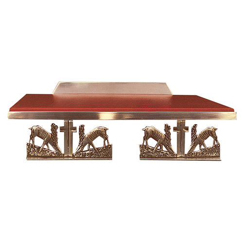Atril de mesa latón fundido dorado y simil cuero ciervos 1