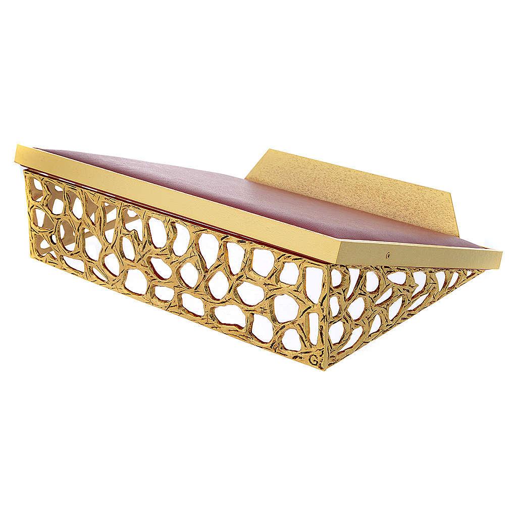 Atril de mesa latón fundido dorado y simil cuero red dorada 4